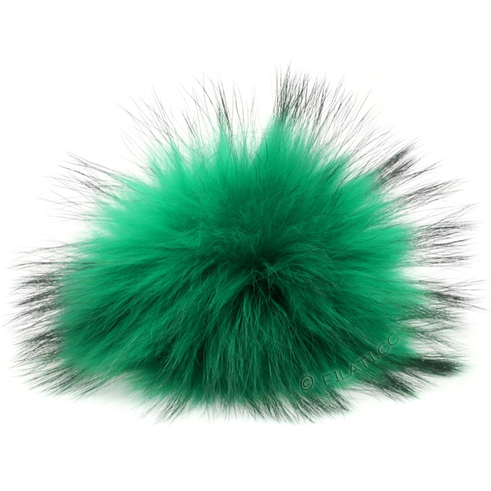 Fur Pompom Finnraccoon Fashion | 108-emerald/black
