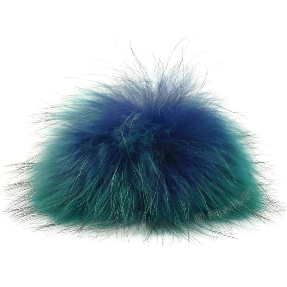 Fur Pompom Finnraccoon Fashion | 138-cobalt/petrol