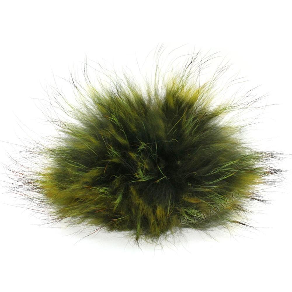 Fur Pompom Finnraccoon Fashion | 148-dark green/light green/rust
