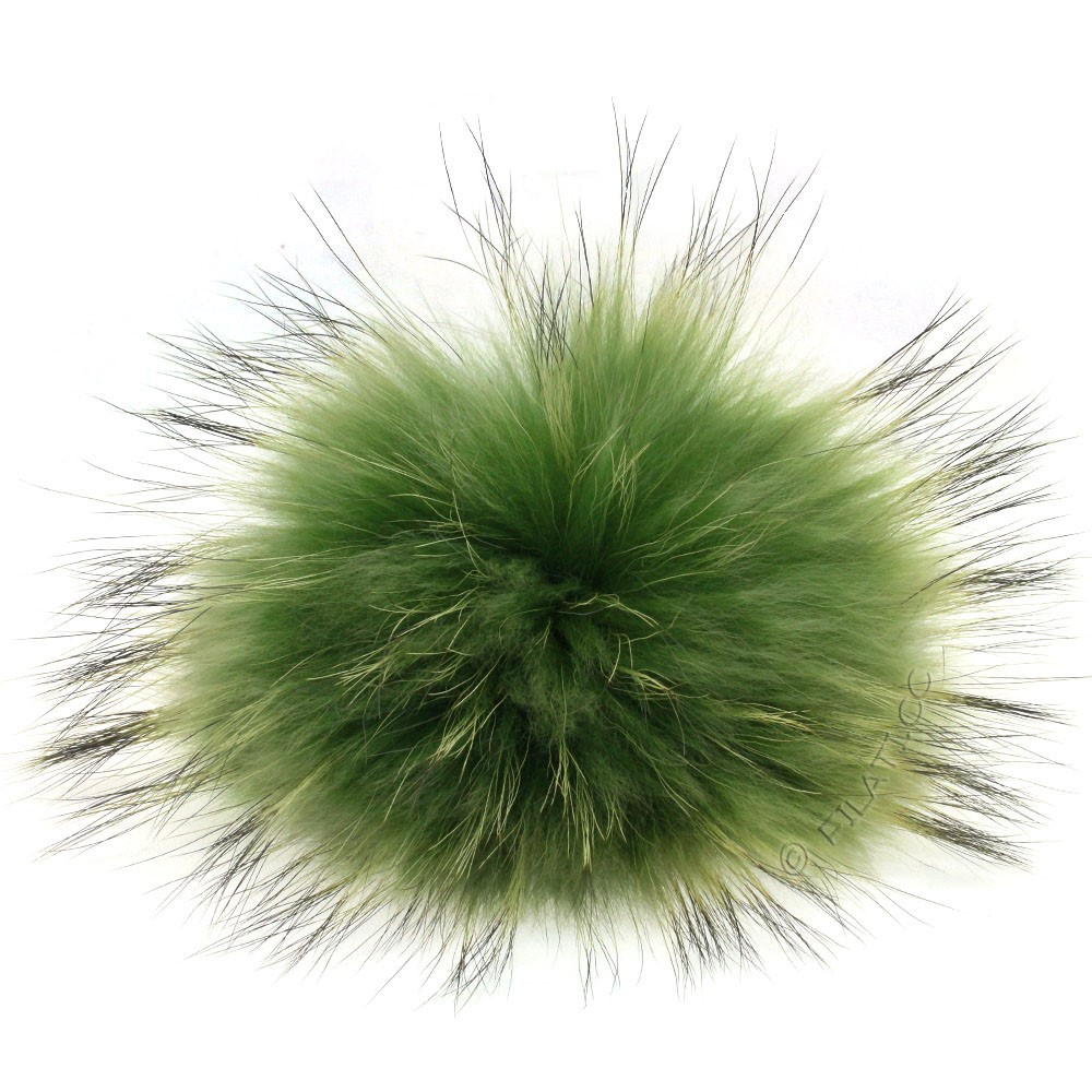 Fur Pompom Finnraccoon Fashion | 153-moss green