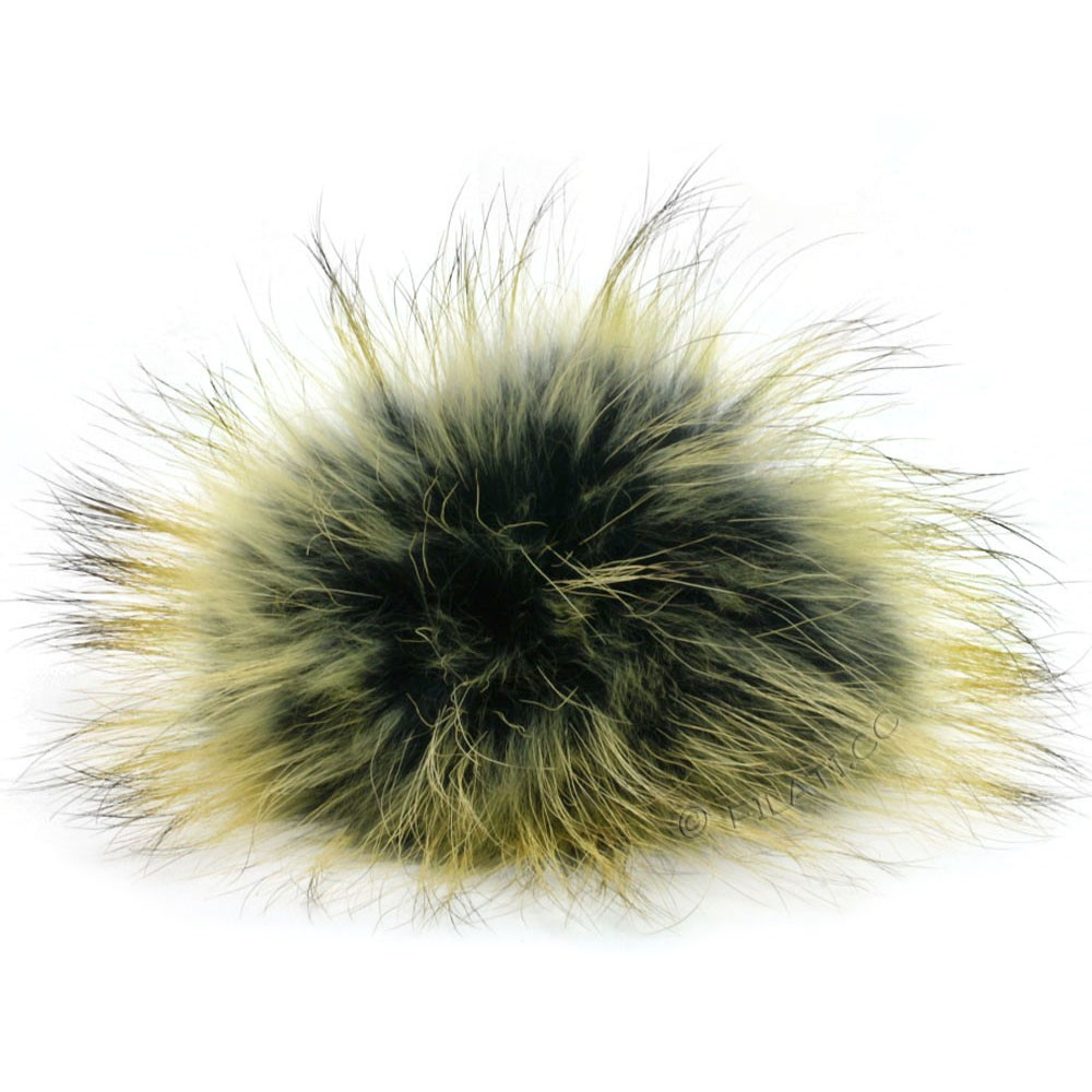 Fur Pompom Finnraccoon Multicolor | 135-black/kiwi