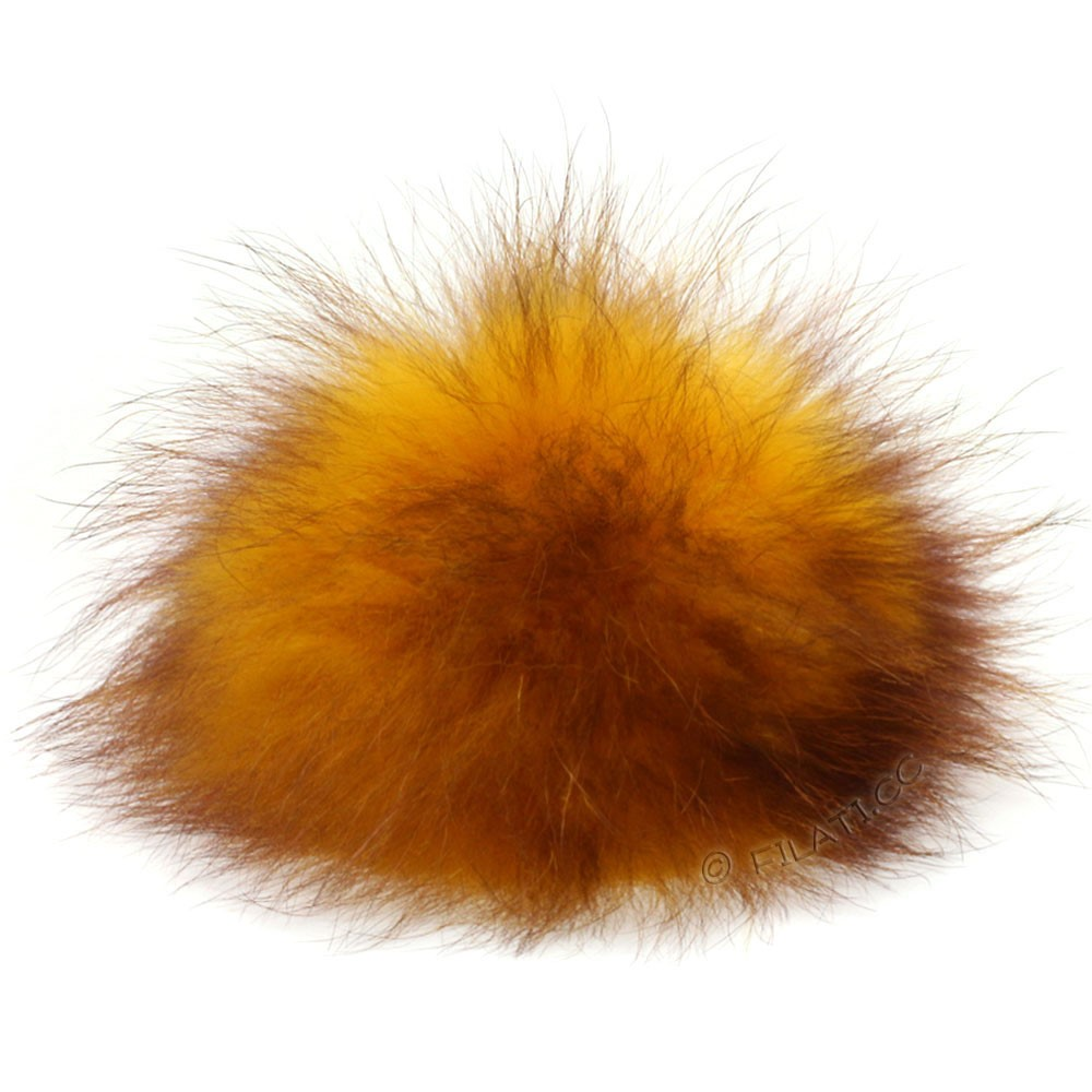 Fur Pompom Finnraccoon Multicolor | 136-mustard/brown