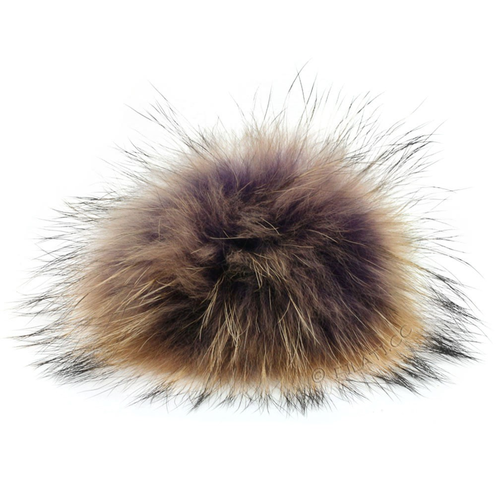 Fur Pompom Finnraccoon Multicolor | 140-lilac/brown