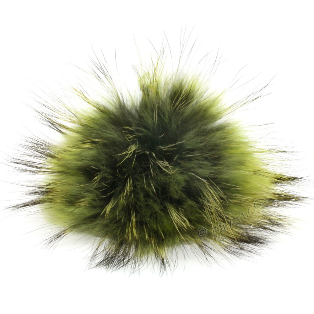 Fur Pompom Finnraccoon Natural Color | 500-moss/kiwigreen