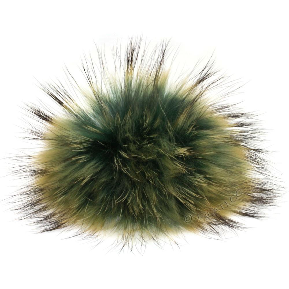 Fur Pompom Finnraccoon Natural Color | 502-emerald/sand