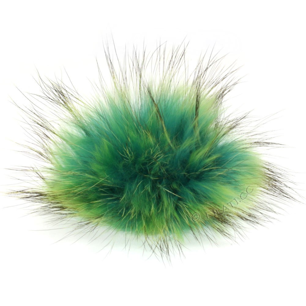 Fur Pompom Finnraccoon Natural Color | 503-aqua/neon green