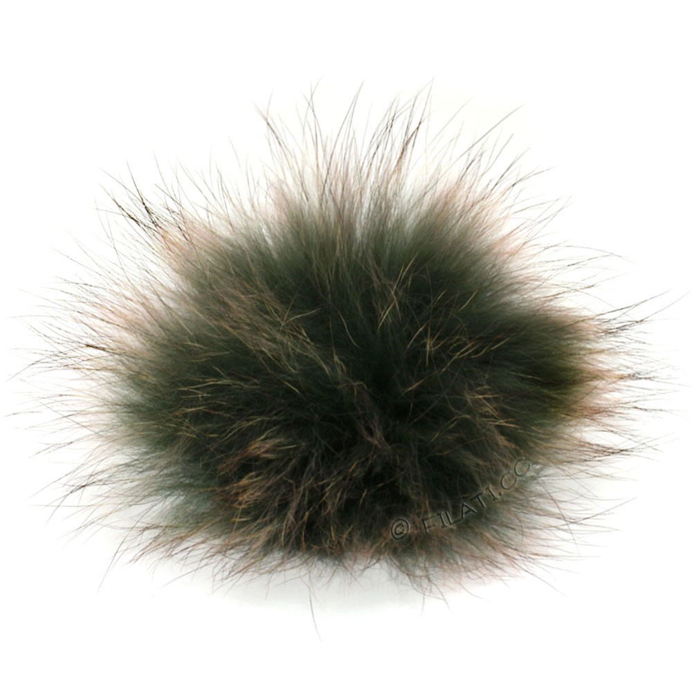 Fur Pompom Finnraccoon Natural Color | 504-gray/pale pink
