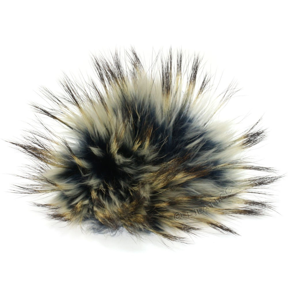 Fur Pompom Finnraccoon Natural Color | 506-steel blue/ice blue