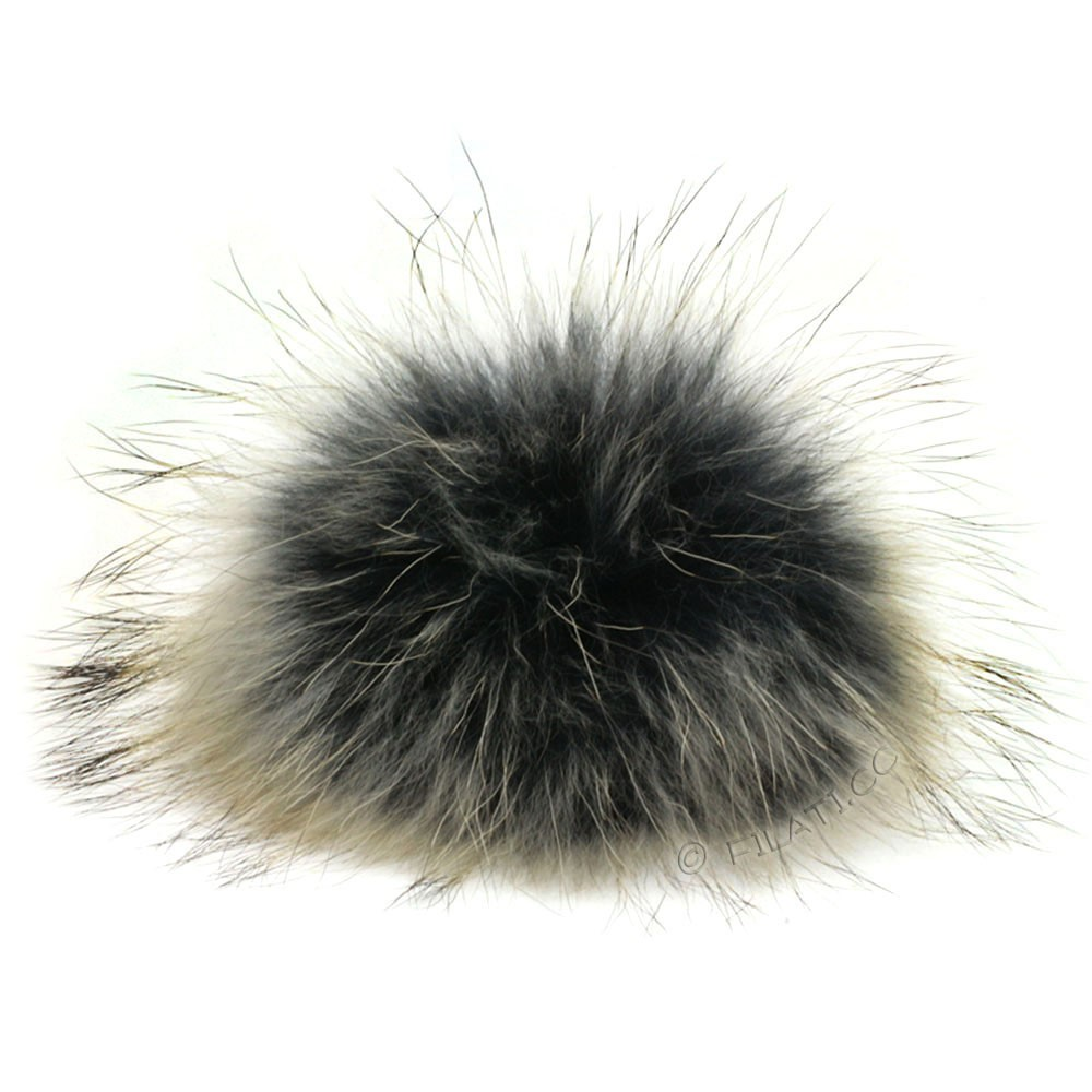 Fur Pompom Finnraccoon Natur | 129-black/beige