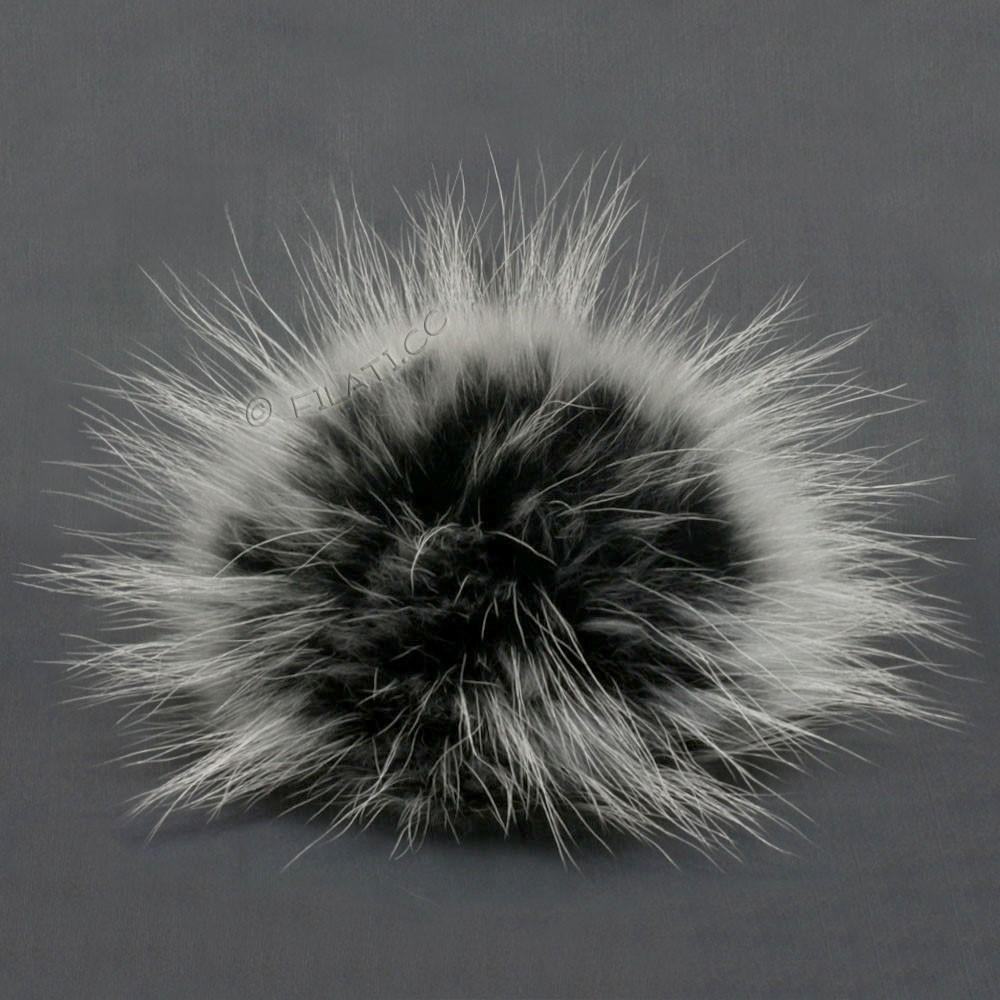 Fur Pompom Finnraccoon Natur | 144-black/white