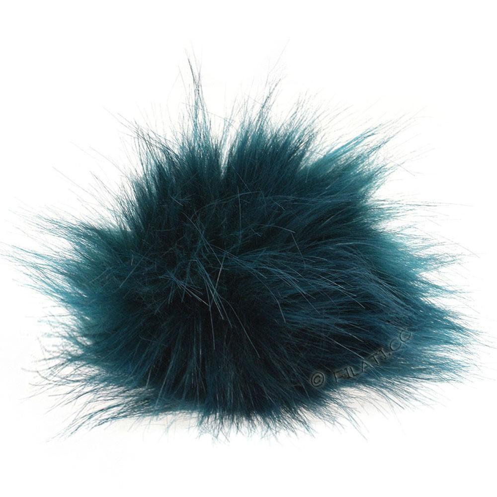 Fake Fur Pompom Color   102-petrol
