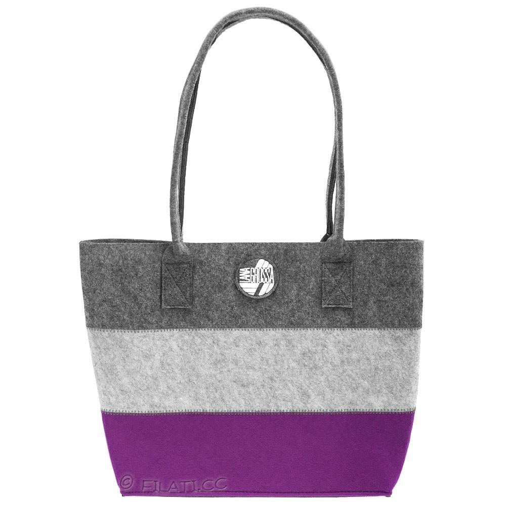 Shopper with inside pocket   03-purple
