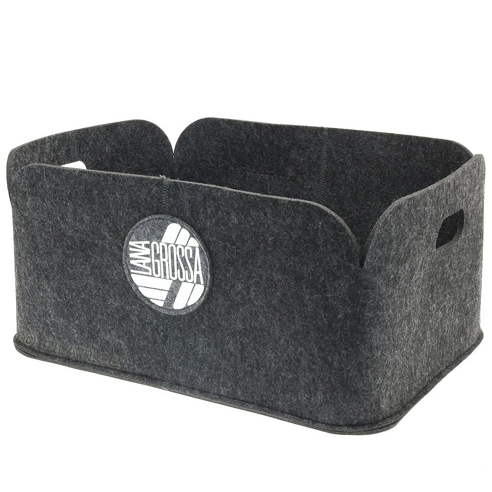 Wool basket | 01-gray - approx 48 x 35 x 22,5 cm/19 x 13,8 x 9 in