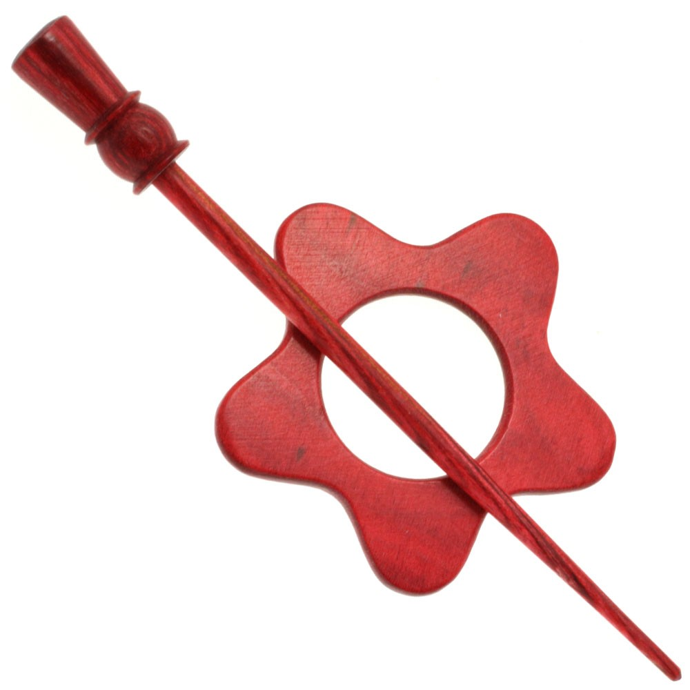 Wooden Clasp Flower | 04-ruby red