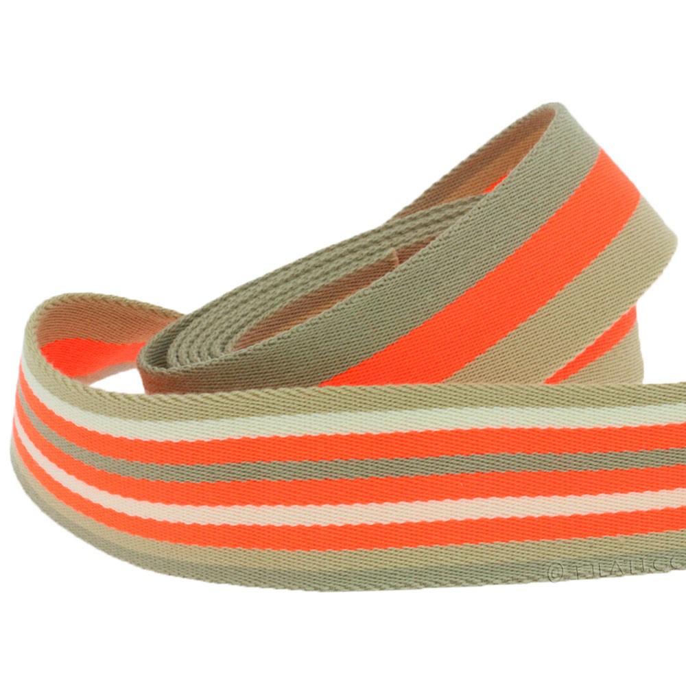 Bag ribbon | 901-neon orange/beige