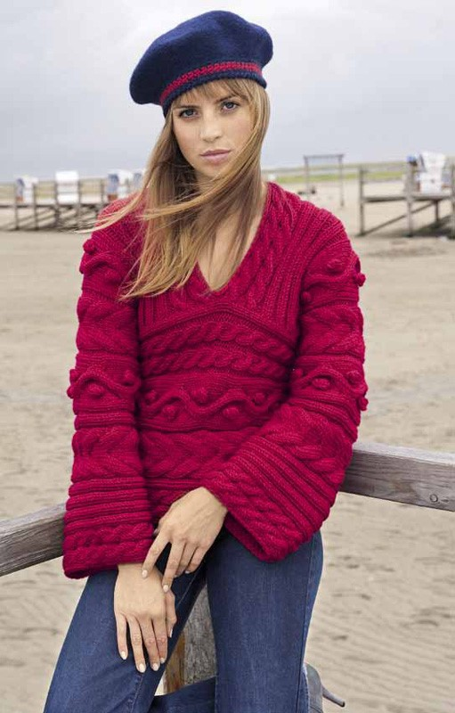 Lana Grossa ARNA PULLOVER WITH BOBBLES AND CABLES Superbingo