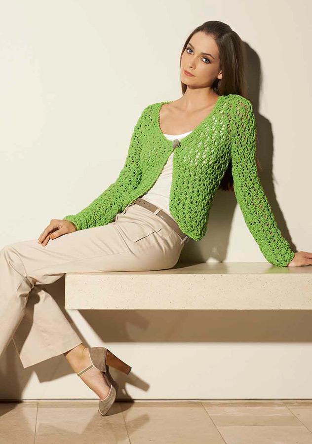 lana grossa lace jacket cotofine filati classici no 3 design 35 filati knitting pattern. Black Bedroom Furniture Sets. Home Design Ideas