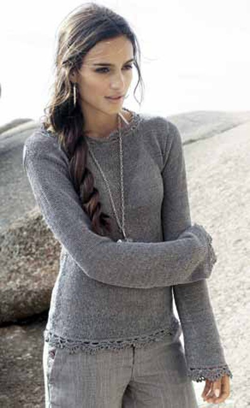 Lana Grossa Sweater with Crochet Trim SECONDO