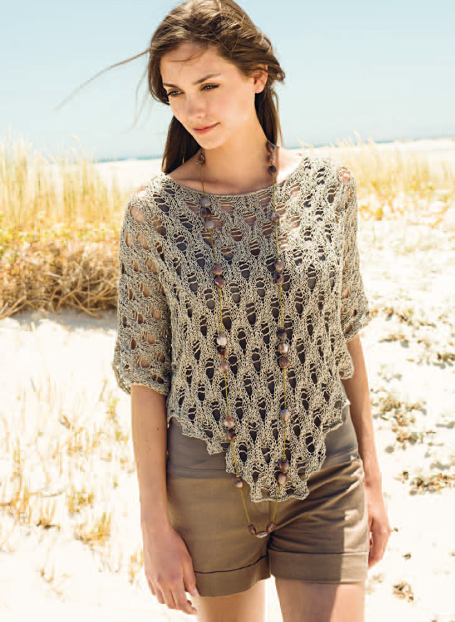 Lana Grossa PONCHO SWEATER IN LACE PATTERN - Divino | FILATI No. 45 ...