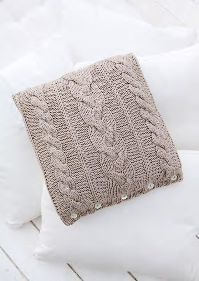 Lana Grossa Cable Pillow Cover CASHSILK