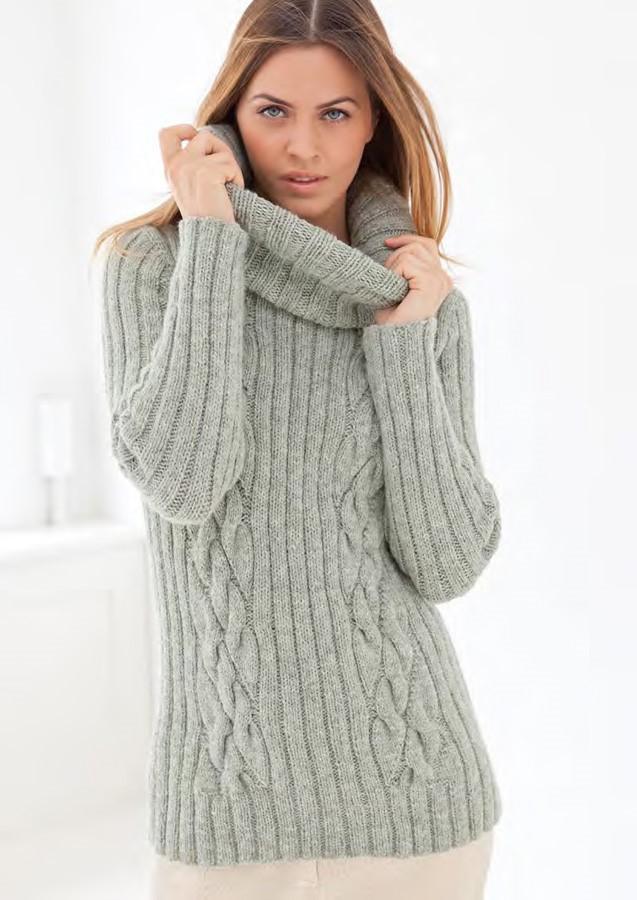 Lana Grossa Rib/Cable Sweater ALTA MODA ALPACA