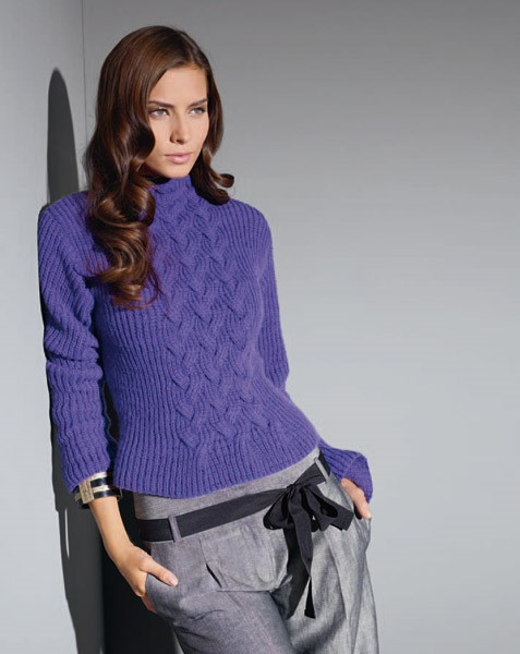 Lana Grossa SWEATER IN HALF FISHERMAN'S RIP PATTERN Solocashmere 110