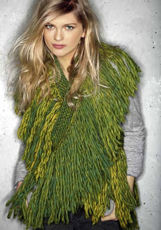 Lana Grossa Densely Fringed Scarf LEI Color