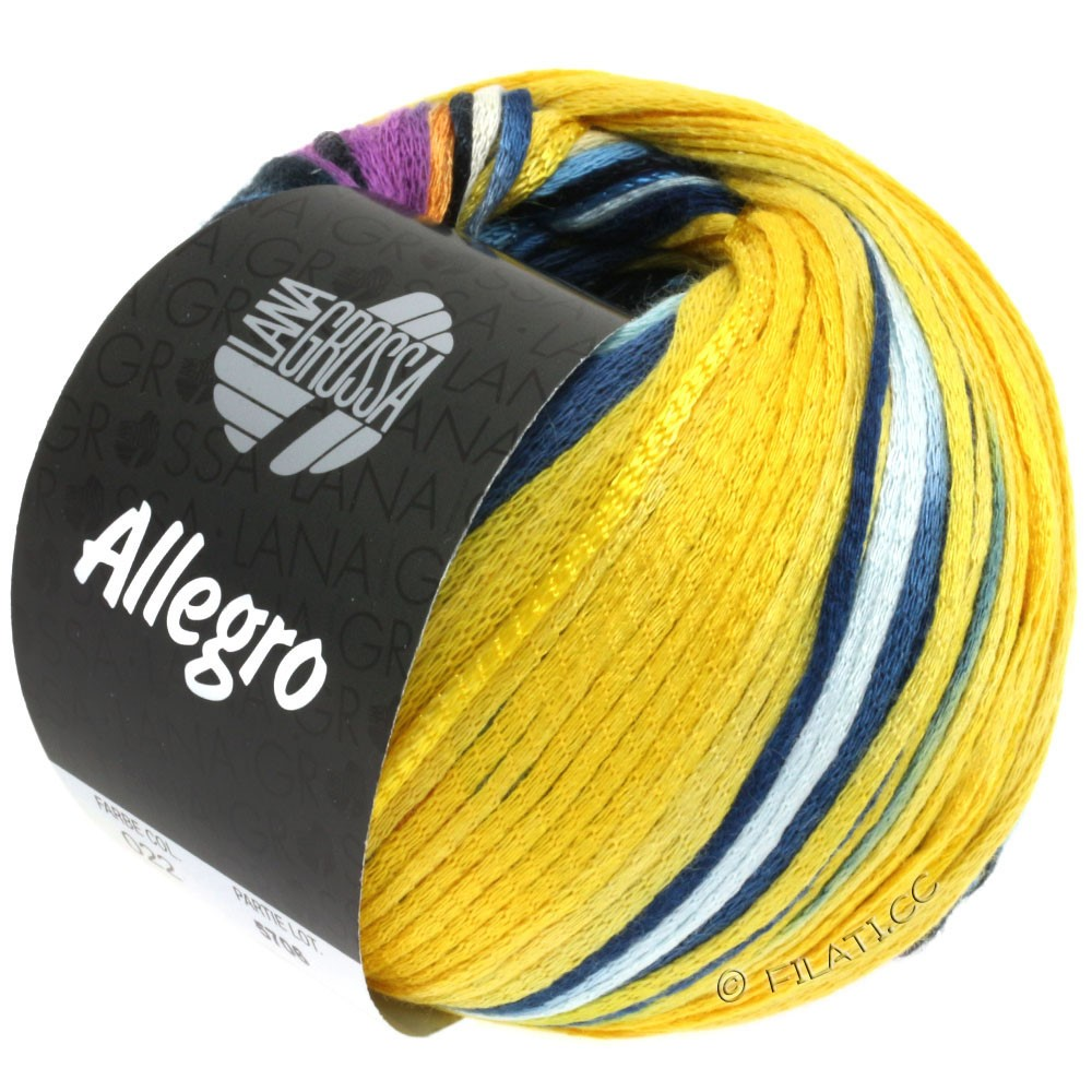 Lana Grossa ALLEGRO | 022-mustard yellow/turquoise/purple/navy/golden yellow