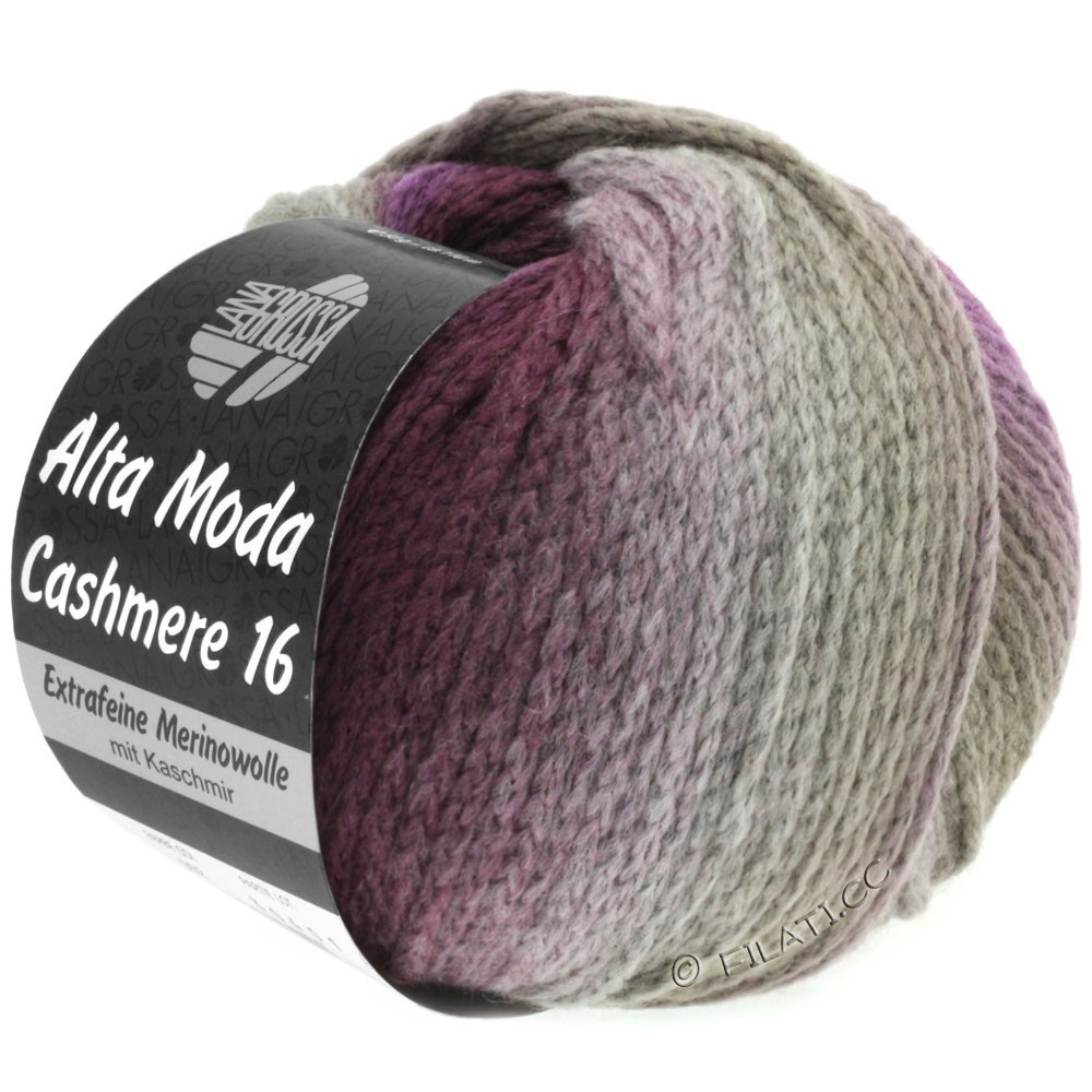 Lana Grossa ALTA MODA CASHMERE 16 Uni/Degradé | 102-taupe/blackberry/purple