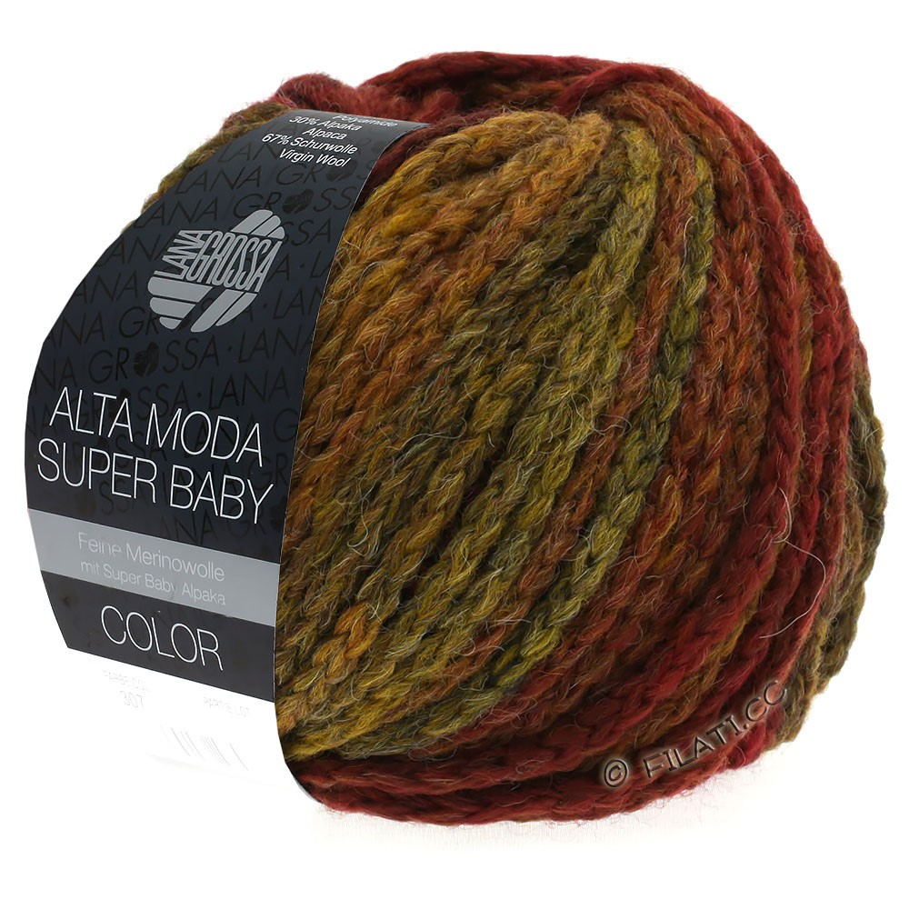 Lana Grossa ALTA MODA SUPER BABY  Color   302-dark red/mustard/brick red/brown