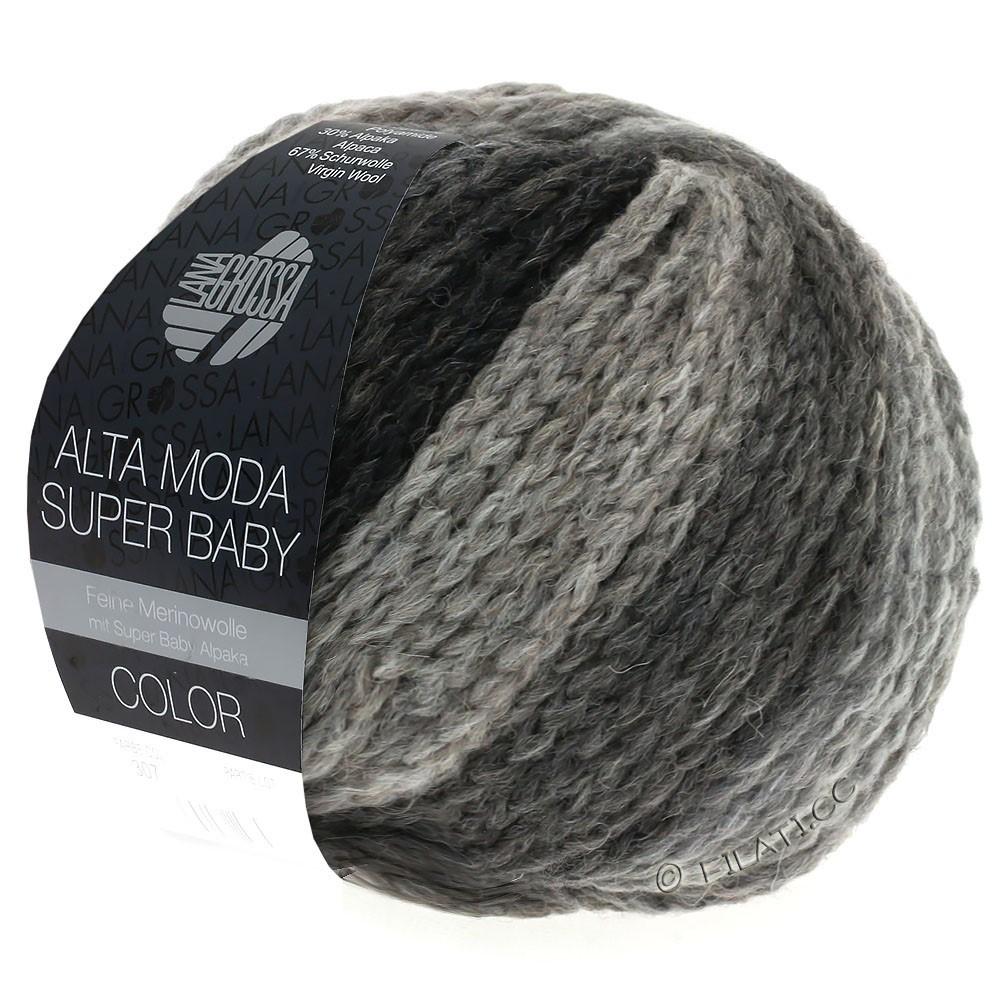 Lana Grossa ALTA MODA SUPER BABY  Color | 308-light gray/dark gray/anthracite