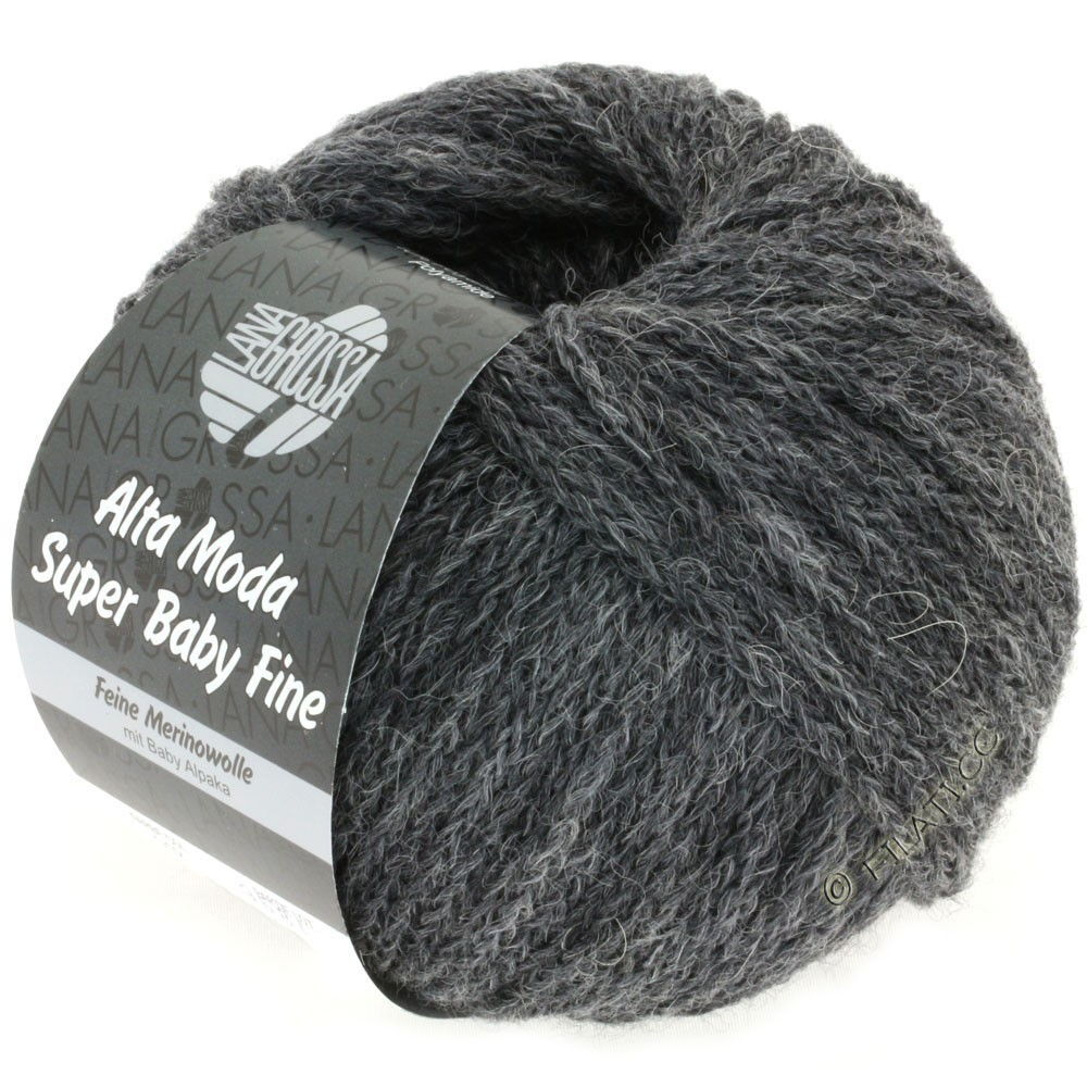 Lana Grossa ALTA MODA SUPER BABY FINE Uni | 12-dark gray mottled