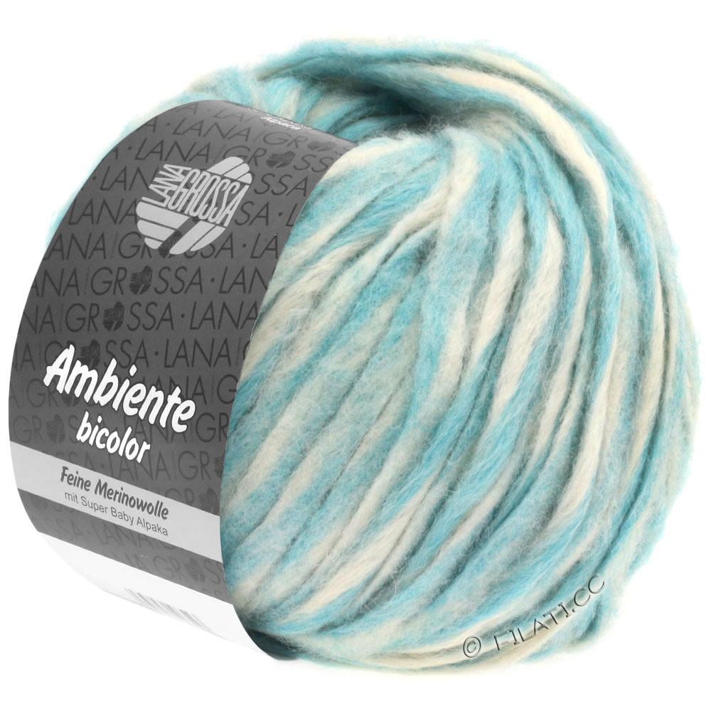 Lana Grossa AMBIENTE Bicolor | 102-raw white/light turquoise