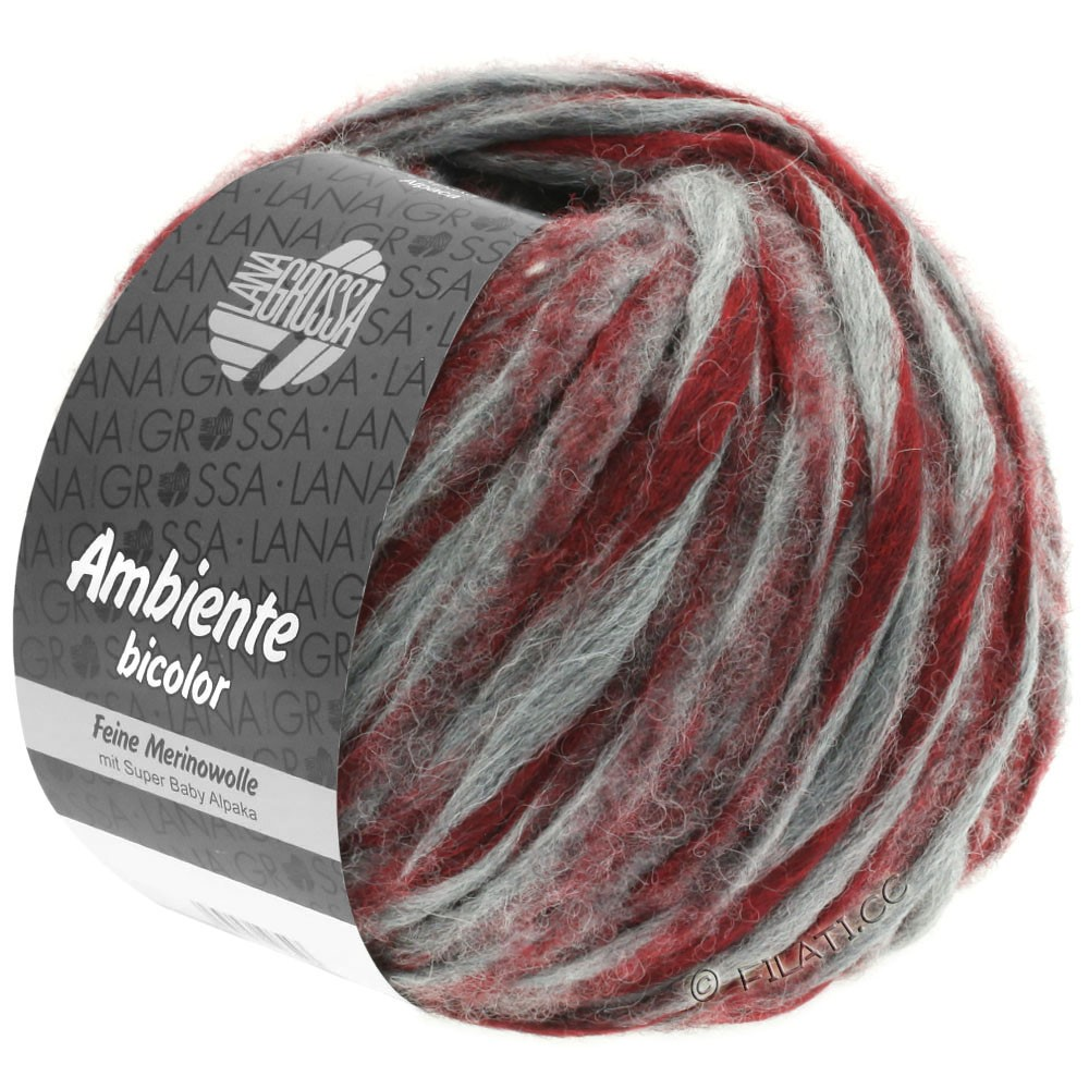 Lana Grossa AMBIENTE Bicolor | 106-gray/brick red