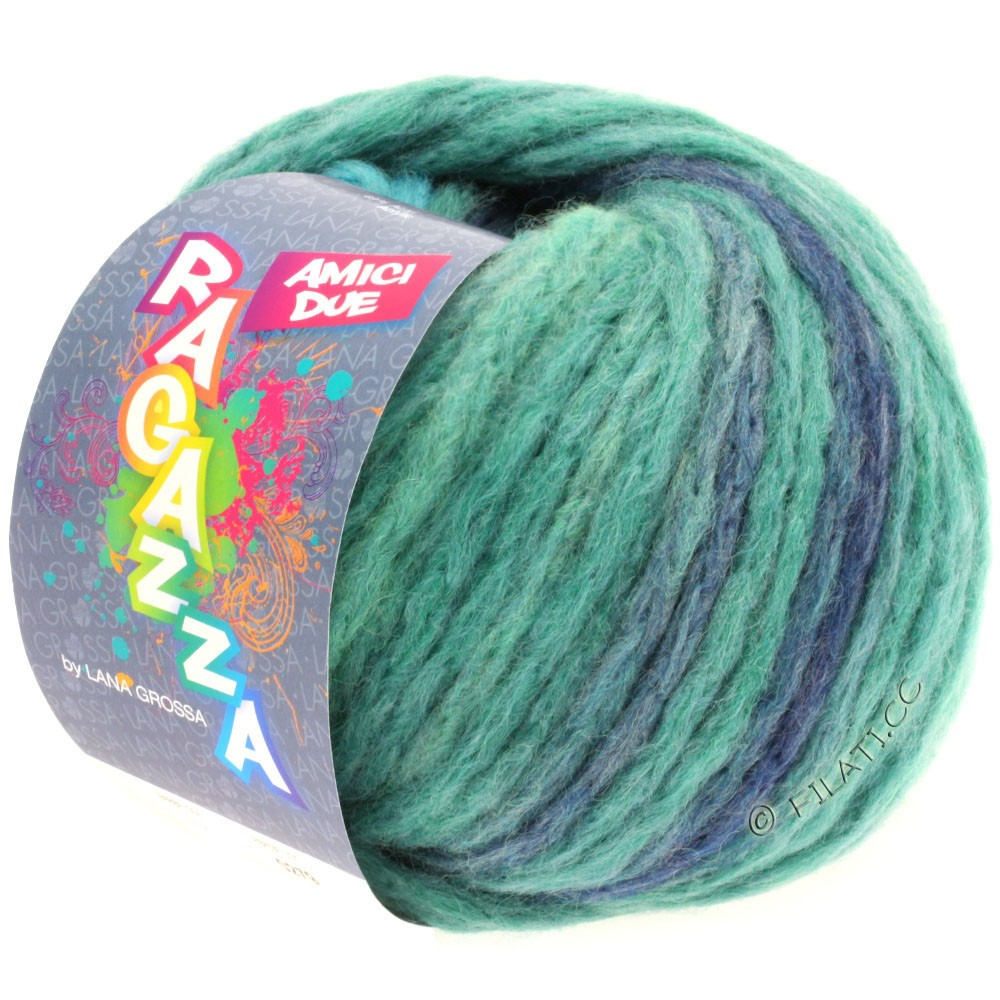 Lana Grossa AMICI DUE (Ragazza) | 102-petrol/turquoise/taupe/jeans