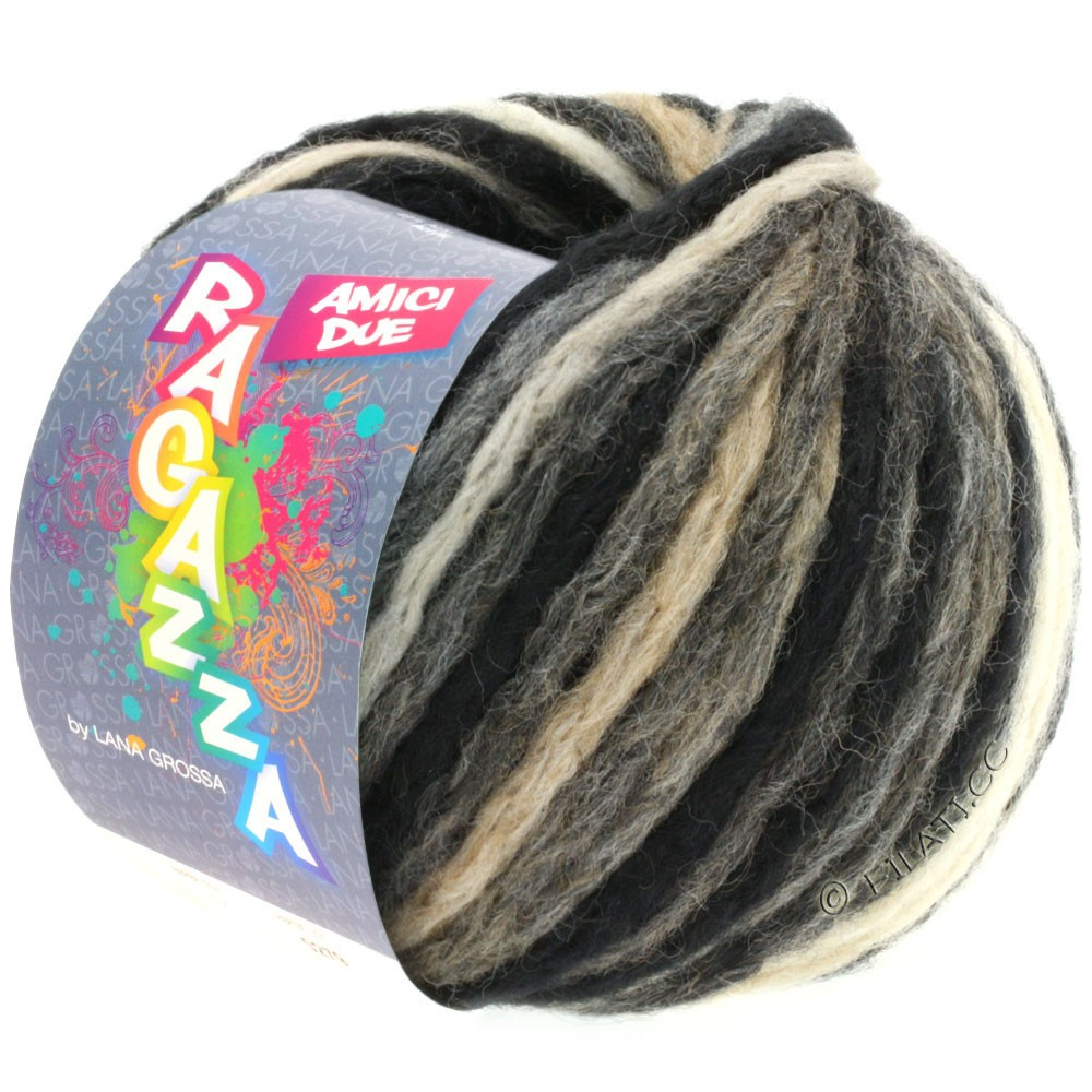 Lana Grossa AMICI DUE (Ragazza) | 106-black/gray/beige/raw white