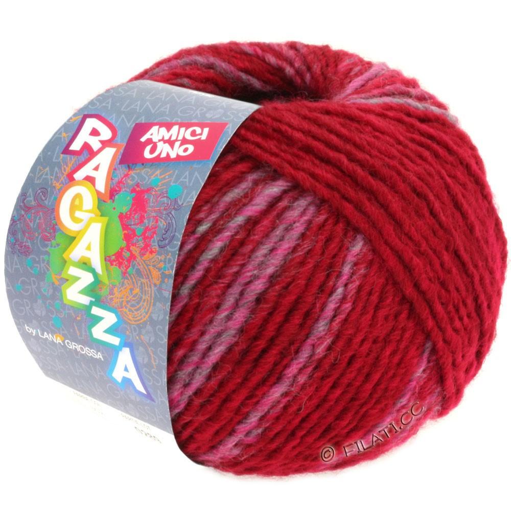 Lana Grossa AMICI UNO (Ragazza) | 305-wine red/pink/gray