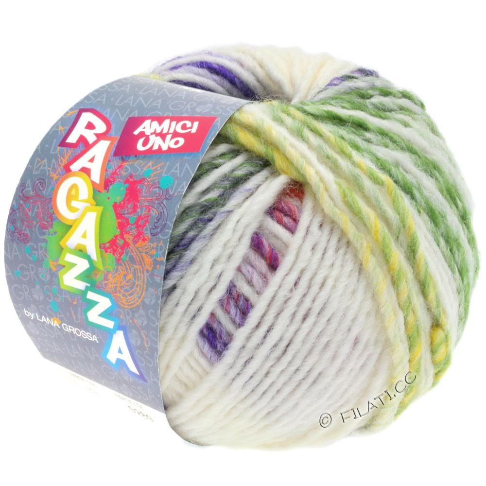 Lana Grossa AMICI UNO (Ragazza) | 313-raw white/purple/antique pink/green/mustard