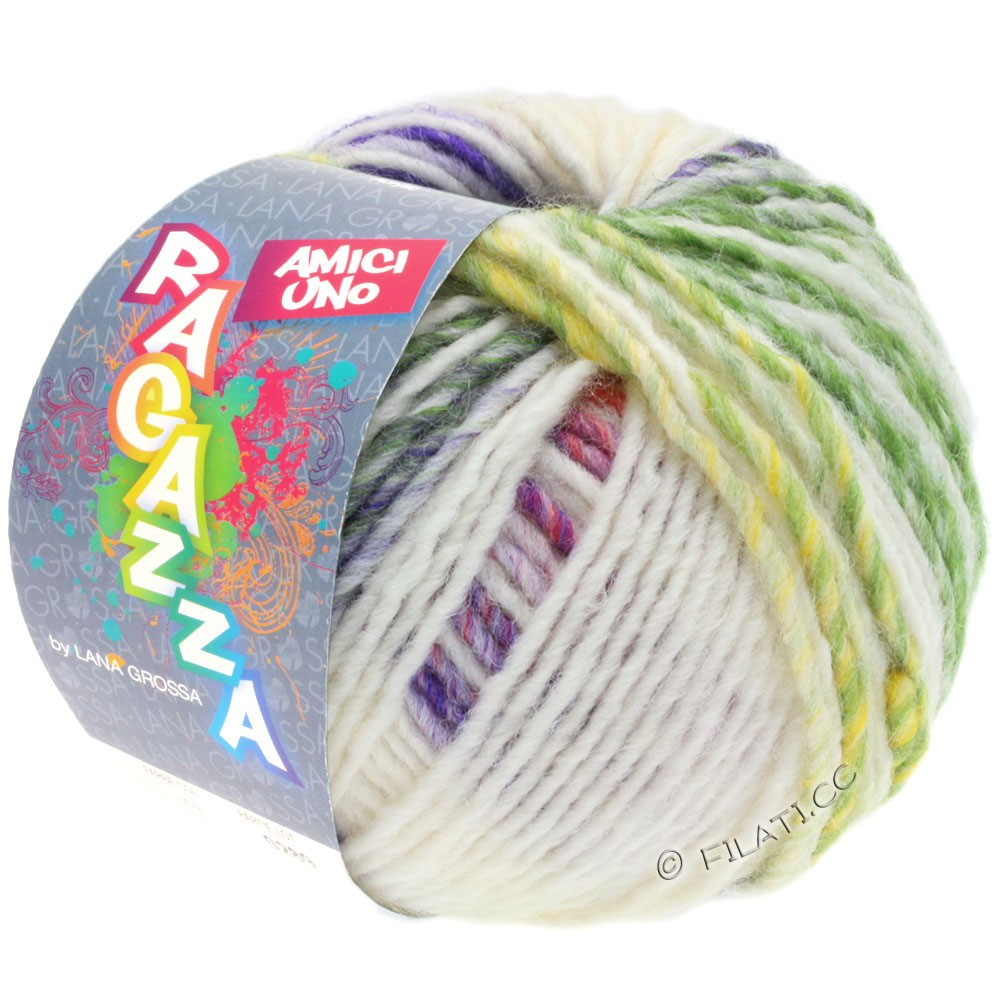 Lana Grossa AMICI UNO (Ragazza) | 313-raw white/violet/antique pink/green/mustard