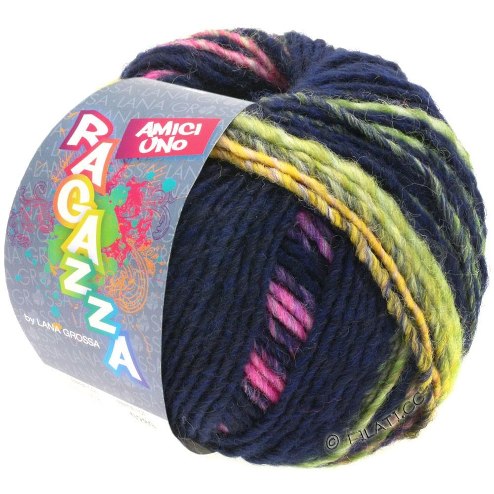 Lana Grossa AMICI UNO (Ragazza) | 316-night blue/yellow/pink/purple/light green