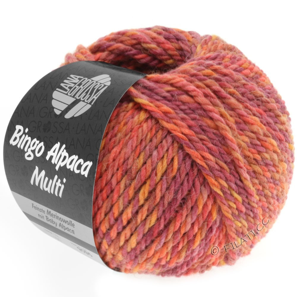 Lana Grossa BINGO ALPACA Multi | 104-light red/orange/cyclamen/tomato