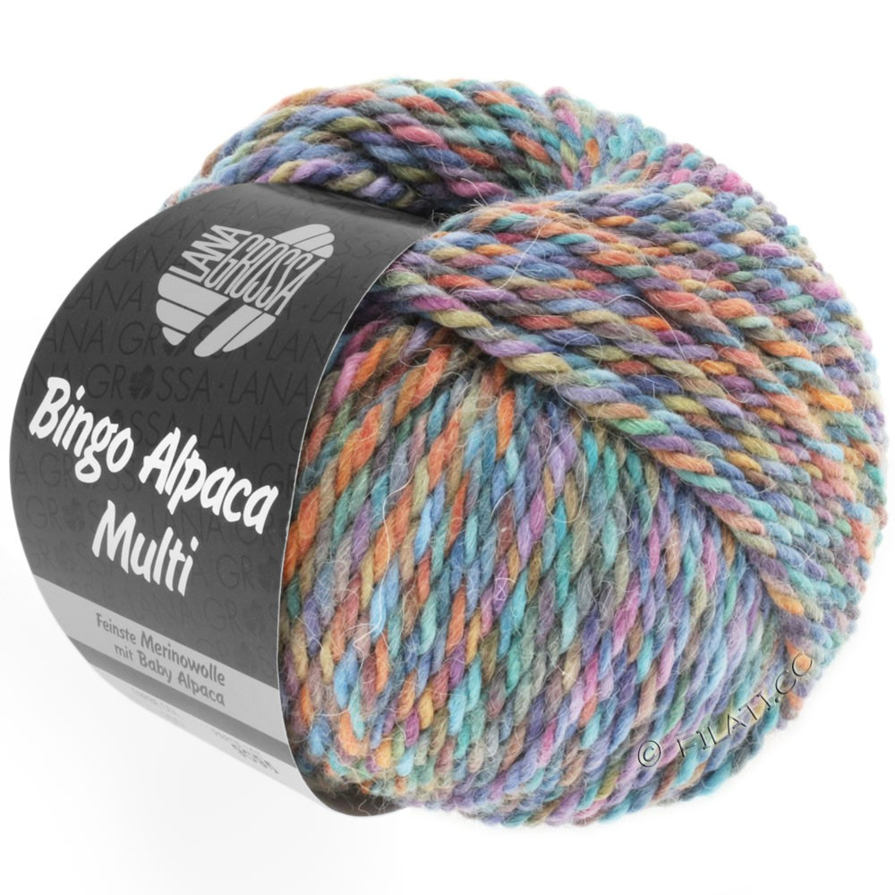 Lana Grossa BINGO ALPACA Multi | 105-turquoise/rust/lilac/purple/brown