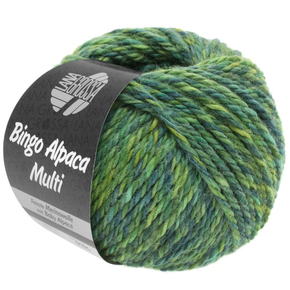 Lana Grossa BINGO ALPACA Multi | 109-yelow green/reseda green/petrol/hay green