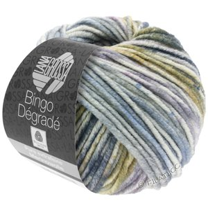 Lana Grossa BINGO Dégradé | 656-raw white/pastel purple/light gray/gray/olive
