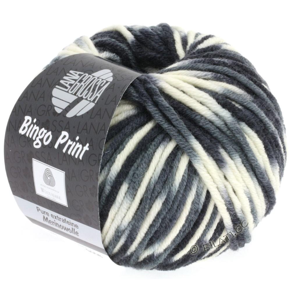 Lana Grossa BINGO  Uni/Melange/Print | 310-white/light gray/dark gray/black