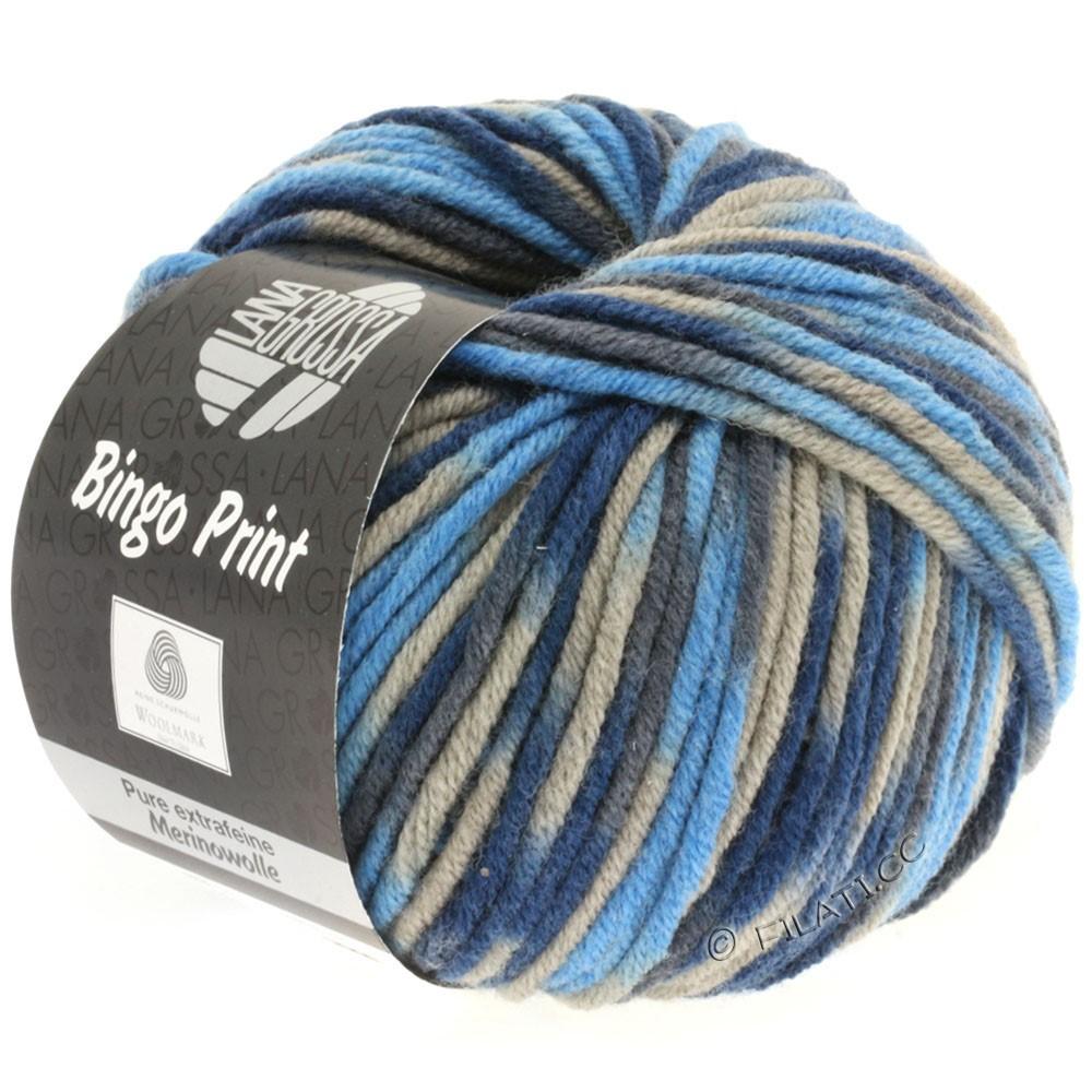 Lana Grossa BINGO  Uni/Melange/Print | 326-azure blue/gray/navy/dark gray