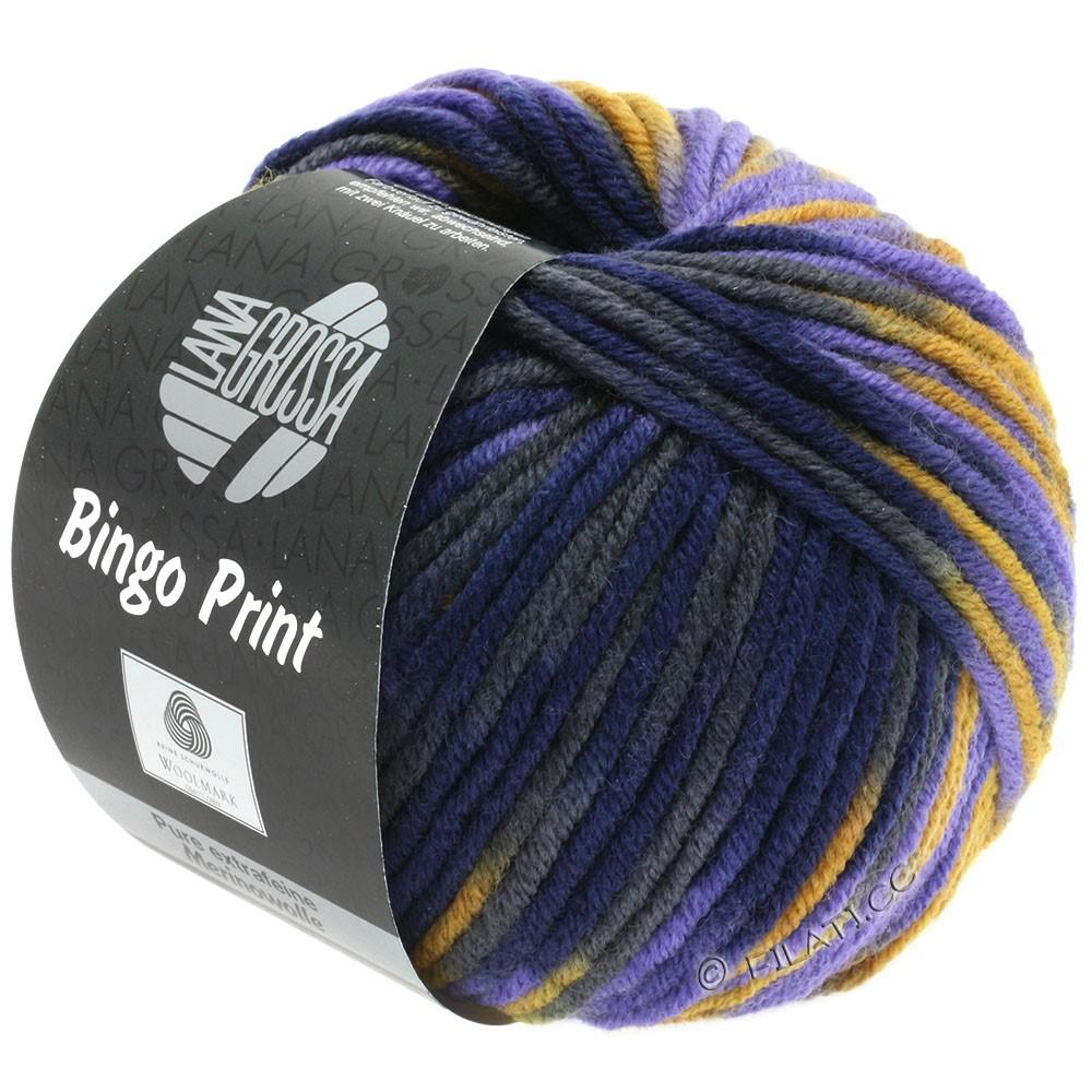 Lana Grossa BINGO  Uni/Melange/Print | 364-ochre yellow/violet/night blue/anthracite
