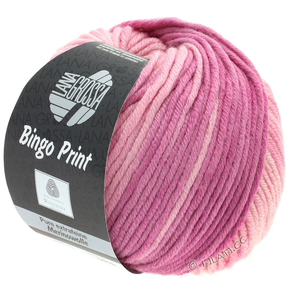 Lana Grossa BINGO  Uni/Melange/Print | 624-pale pink/heather/berry