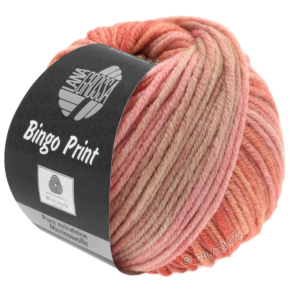 Lana Grossa BINGO  Uni/Melange/Print | 629-salmon pink/brown gray/antique violet