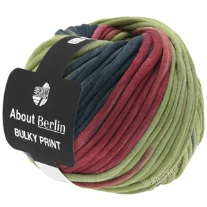 Lana Grossa BULKY Print (ABOUT BERLIN) | 104-reed green/anthracite/berry/gray green